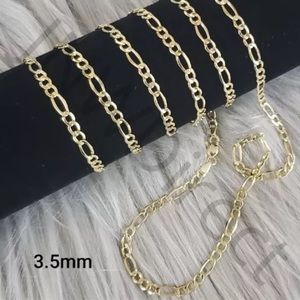 """Solid Gold Figaro Chain 22"""" Necklace Brand New"""